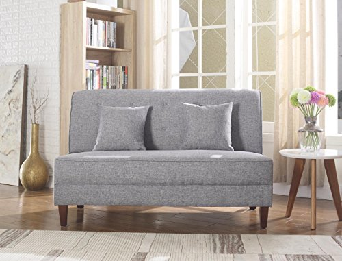 NHI Express 73023-62GY Button Tufted Loveseat Not Applicable, Gray