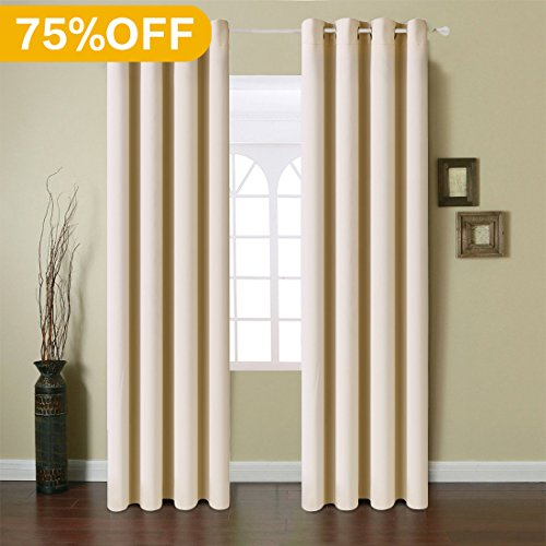 Fairyland Blackout Window Curtains Grommet Thermal Insulated Drapes 2 Panels 250g for Bedroom&living Room(Beige, 52x63 in)