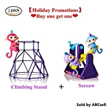 Interactive Monkey Jungle Gym Playset,ABC® for Finger Monkey Jungle Gym Playset Interactive Baby Monkey Climbing Stand(Purple)