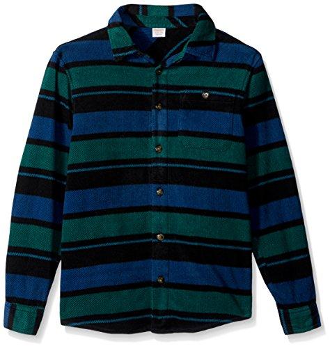 - Gymboree Boys' Little Long Sleeve Polar Fleece Knit Shirt, Navy/Green Stripe, S