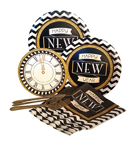 New Years Eve Midnight Celebration Party Supply Pack! Bundle Includes Paper Plates, Napkins, & Silverware for 8 Guests