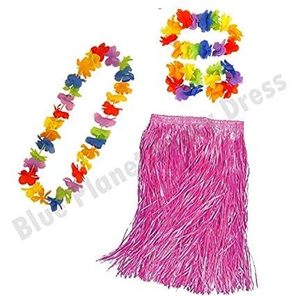 Childrens Kids Hula Skirt Headband Wristbands /& Necklace Hawaiian Luau Fancy