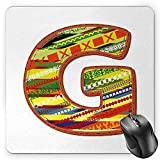 BGLKCS Letter G Mouse Pad, G Letter Character Language System Learning College Surname Red Calligraphy Design, Standard Size Rectangle Non-Slip Rubber Mousepad, Multicolor