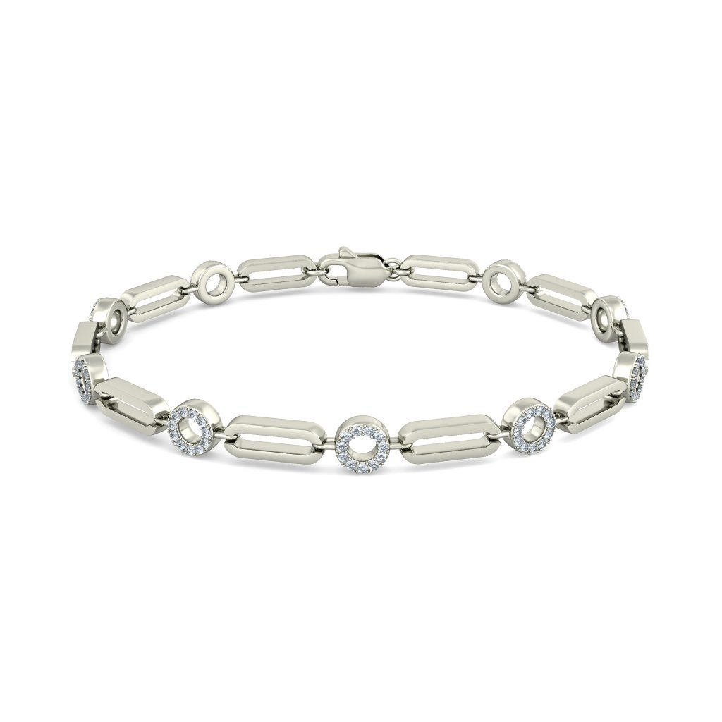 0.49 cttw Round-Cut-Diamond 14K White Gold 7.25 inches HallMarked identification-bracelets Size IJ| SI