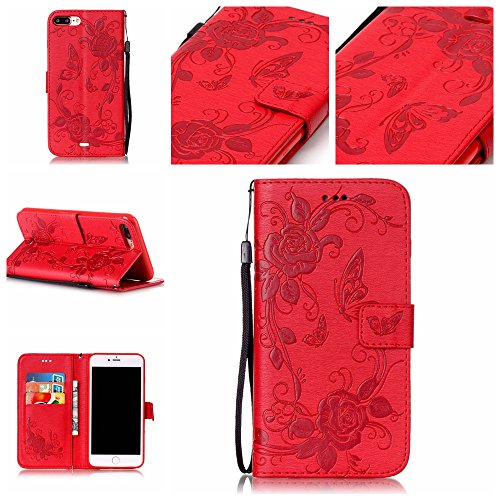 (7 Plus Case, iPhone 7 Plus Case, Easytop Premium PU Leather Embossed Butterfly Flower Design Stand Flip Folio Wallet Cover Case with Wrist Strap Magnetic Closure Card Slots for iPhone)