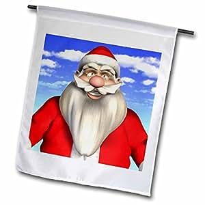 3dRose fl _ 53338_ 1Papá Noel y cielo Azul Bandera de Jardín, 12por 45,72cm