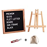 Felt Letter Board Oak Wooden Frame 10 x 10 inches,Letter Organzier with Wooden Tripod Stand,338 White letter and Symbols,Changeable Felt Letter Board Perfect Gift