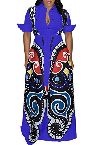 (Women's Casual Button Down Short Sleeve Maxi Dress Deep V Neck African Floral Elegant A Line Long Dresses with Belt)