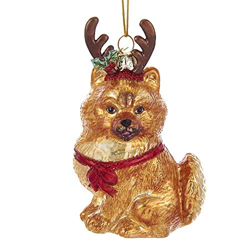 Kurt Adler Noble Gems Pomeranian with Antlers Glass Ornament -