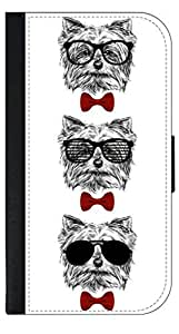 3 Hipster Puppies-Shades and Red Bow Ties- Wallet Case for the APPLE IPHONE 4, 4s ONLY!!!!!-PU Leather and Suede Wallet Iphone Case with Flip Cover that Closes with a Magnetic Clasp and 3 Inner Pockets for Storage