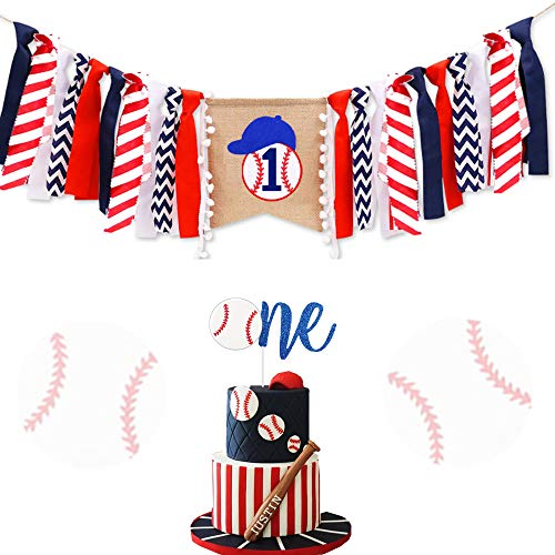 LaVenty Set of 2 Baseball First Birthday Banner Baseball Highchair Banner Baseball One Cake topper Baseball First Birthday Cake Topper Baseball Banner ()