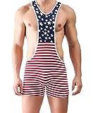 Fangran Men's Sexy Sports Jockstrap Jumpsuit Underwear Mankini USA Flag Bodysuit Wrestling Singlet M - High-Waist