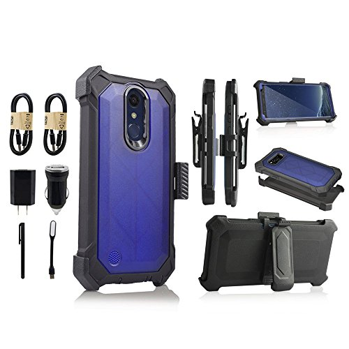 Lg K10 2018 Case, Lg K30 Case, Lg K10α 2018 Phone Case With Screen Protector Belt Clip Crystal Holster Kick Stand Shock Bumper for LG K10+ 2018 [Value Bundle] (Blue) by 6goodeals