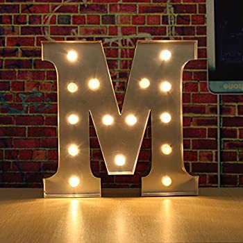 solmore 30cm x 5cm led metal marquee letter lights vintage circus style alphabet light up sign decoration m