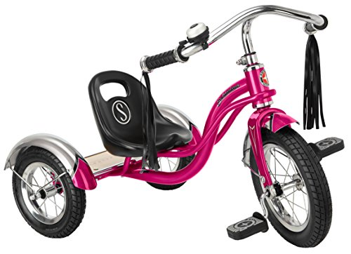 Schwinn Roadster Tricycle with Classic Bicycle Bell and Handlebar Tassels, Featuring Retro Steel Frame and Adjustable Seat, for Children and Kids Ages 2-4 Years Old, Bright Pink (Girls Radio Flyer Tricycle)