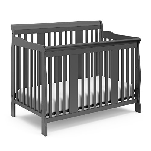Storkcraft Tuscany 4-in-1 Convertible Crib, Gray Easily Converts to Toddler Bed, Day Bed or Full Bed, 3 Position Adjustable Height Mattress (Babies R Us Crib And Changer Combo)