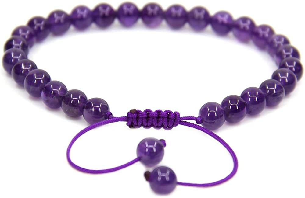 Handmade Gemstone 6mm Round Beads Adjustable Braided Macrame Tassels Chakra Reiki Bracelets 7 Inch