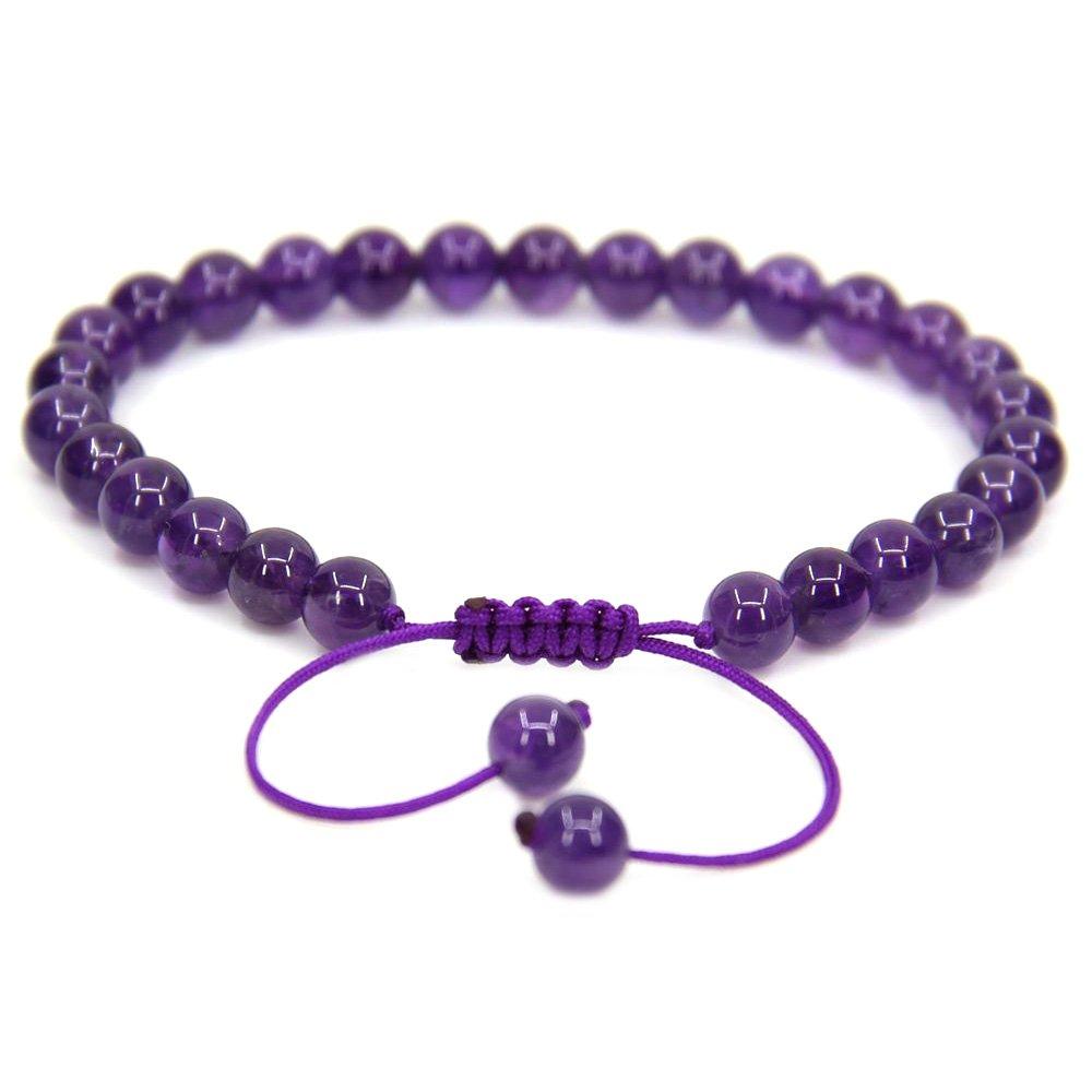 Handmade Gemstone 6mm Round Beads Adjustable Braided Macrame Tassels Chakra Reiki Bracelets 7-9 inch Unisex QYeuJvqHu