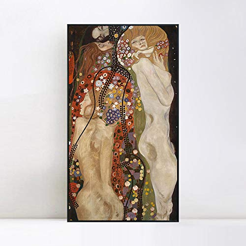 (INVIN ART Framed Canvas Giclee Print Art Water Serpents Snakes by Gustav Klimt Wall Art Living Room Home Office Decorations(Black Slim Frame,20