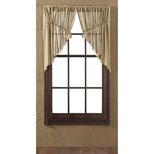 Tobacco Curtain Panel - VHC Brands Primitive Farmhouse Kitchen Window Curtains - Tobacco Cloth Tan Fringed Prairie Swag Pair, Khaki