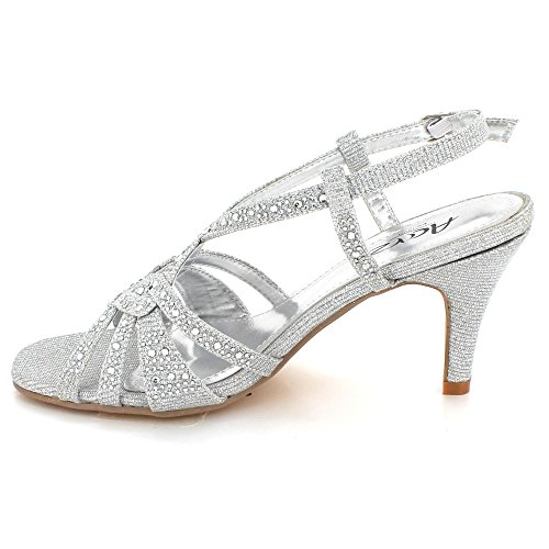 AARZ LONDON Womens Ladies Sparkly Crystal Diamante Evening Wedding Party Bridal Prom Ankle Strap High Heel Sandals Shoes Size Silver EwLm3G