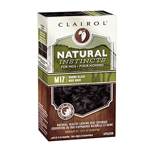 Clairol Natural Instincts Semi-Permanent Hair Color Kit For Men, 3 Pack, M17 Brown Black Color, Ammonia Free, Long Lasting for 28 Shampoos