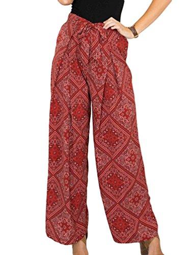 WanYang Mujeres Pantalones De Pierna Ancha Casual Loose Impresión Verano Playa Holgados Estampado Pantalones Largos Floja Ocasional Vino