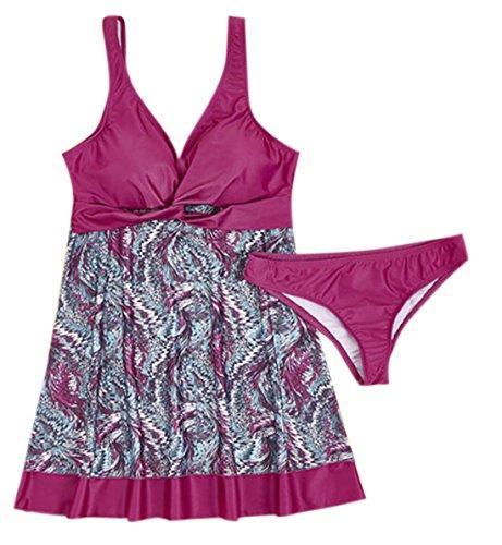 Elsa Steen - Damen Bauchweg Boho Tankini, Patchwork Muster, XS-2XL, Pink