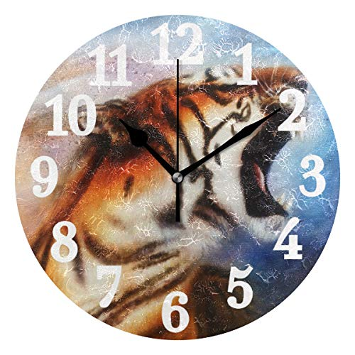 WIHVE Round Wall Clock Tiger Home Art Decor Non-Ticking Numeral Clock for Home Office