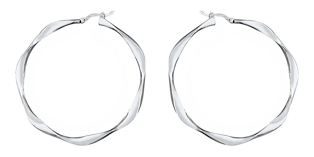5,7 cm große gedrehte Creolen Silber 925 Ohrringe Sterlingsilber Silbercreolen
