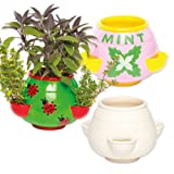 Ceramic Herb Planters for Children to Design Paint and Decorate - Make Your Own Creative Craft Kit for Kids/Adults (Box of 2)