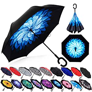 Zameka Double Layer Inverted Umbrellas Reverse Folding Umbrella Windproof UV Protection Big Straight Umbrella Inside Out Upside Down for Car Rain Outdoor with C-Shaped Handle (Blue Daisy)