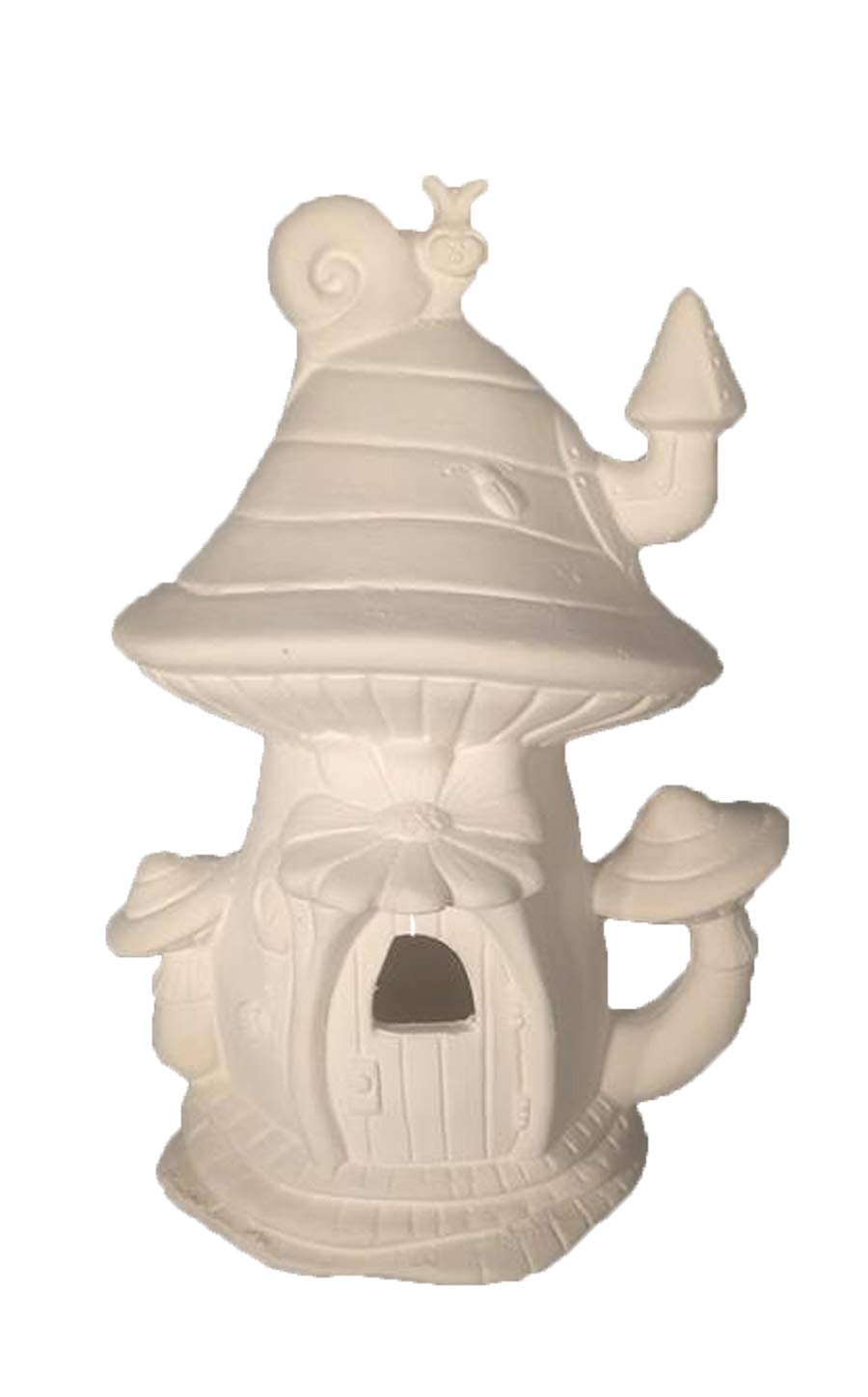 Mushroom Snail Shack Fairy House 8'' x 5'' Ceramic Bisque, Ready to Paint