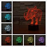 Novelty 3D Pig Animal Night Light Touch Table Desk Optical Illusion Lamps 7 Color Changing Lights Home Decoration Xmas Birthday Gift