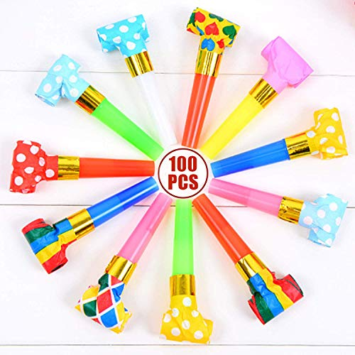 Musical Blow Outs, Party Horns Noisemakers Blowouts Whistles for Birthdays, New Year, and other Celebrations Party 100 PCS