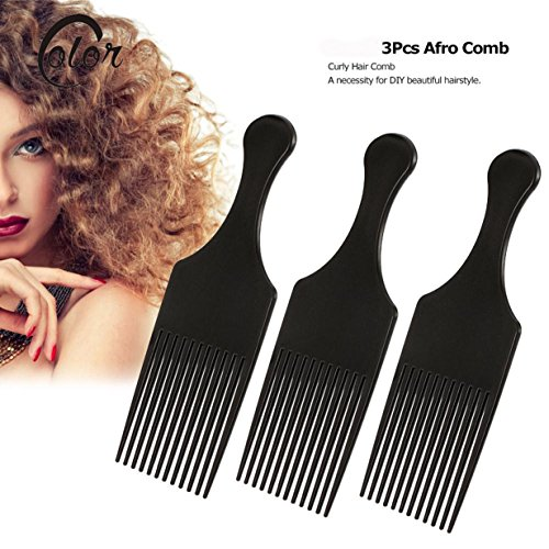 1 Set (3 Pcs/Set) Comb Hair Brush Afro Fork Hairdressing Hairbrush Styling Tool Combo Pocket Long Round Handle Holder Lovely Popular Beard Natural Grooming Women Travel Kit 0.12' Wall