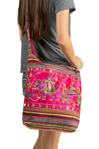 Pink Shoulder Bag Handmade Embroidered Elephant Boho Bohemian Hippie Tote Gypsy Beach Bag