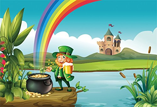 (AOFOTO 7x5ft St Patrick's Day Background Lucky Clover Coin Photography Backdrop Rustic Castle Shamrock Leprechaun Pot of Gold Green Leaf Photo Studio Props Abstract Cartoon Rainbow Vinyl Wallpaper)
