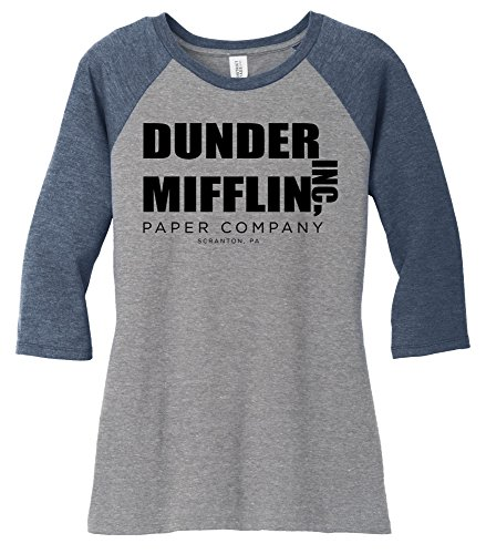 Comical Shirt Ladies Dunder Mifflin Paper Company Funny TV Show Shirt Navy Frost/Grey Frost 2XL - Ladies Show Shirt