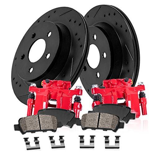Tc Black Powder - CCK02645 REAR Powder Coated Red [2] Calipers + [2] Black Powder Coated Rotors + [4] Ceramic Brake Pads