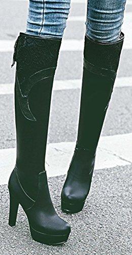 Aisun Kvinna Sexig Snörning Hög Klack Dressat Rund Tå Plattform Knähöga Stövlar Med Klackar Svart