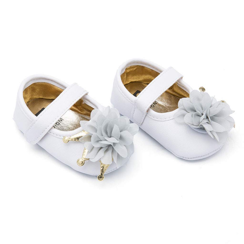 Jarsh Baby Girl Shoes Toddler First Walkers Lace Crown Princess Soft Sole Mary Jane Crib Shoes