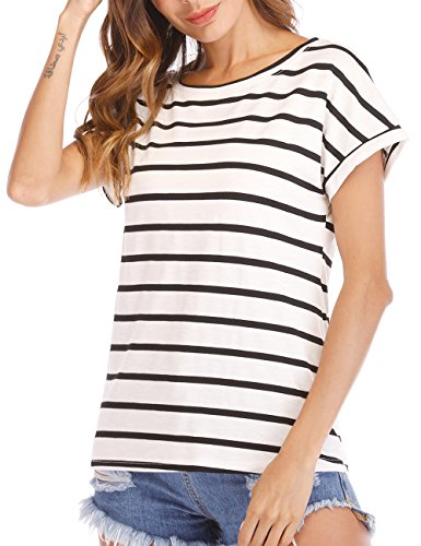 Agmibrelr Womens Striped Short Sleeve Summer Crew Boat Neck Tops Women 2X 3X T Shirts Tees Black and White XL