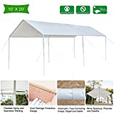 VINGLI 10'x20′ Heavy Duty Domain Carport Car Canopy, Upgraded Steady Metal Steel 6 Legs, ISO Anti UV Waterproof Panels Versatile Garage Vehicle Sunshine Shelter,Outdoor Party Tent Garden Gazebo, White For Sale