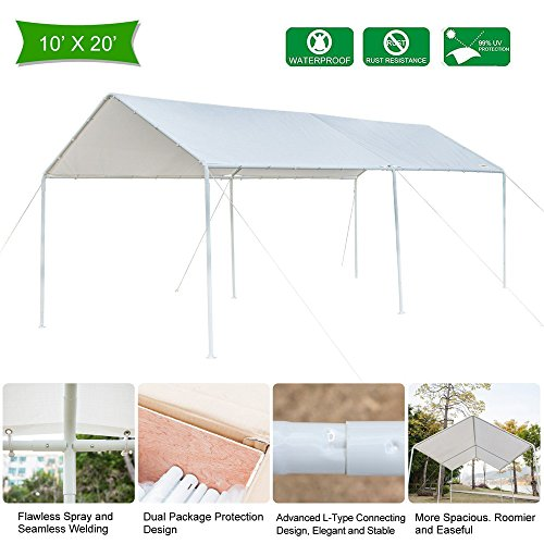 VINGLI 10'x20' Heavy Duty Domain Carport Car Canopy, Upgraded Steady Metal Steel 6 Legs, ISO Anti UV Waterproof Panels Versatile Garage Vehicle Sunshine Shelter,Outdoor Party Tent Garden Gazebo, White (10 Garden Party Canopy)