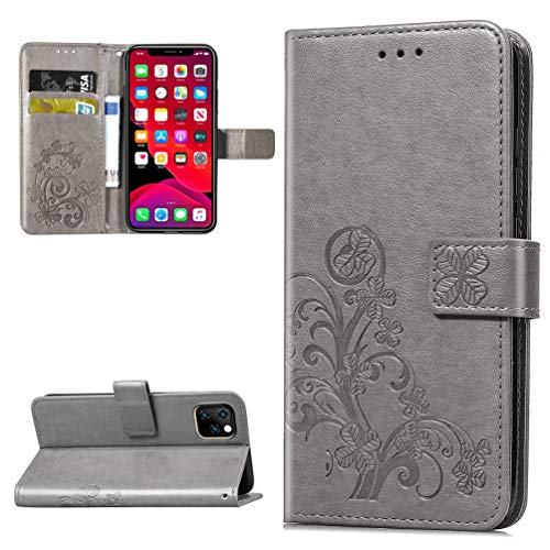 iPhone 6.5 inch 2019 Case, Lucky Clovers Wallet Case PU Leather Magnetic Flip Cover Shock Resistant Flexible Soft TPU Slim Protective Bumper Card Slots Kickstand Lanyard for 2019 iPhone 6.5