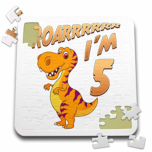 Carsten Reisinger - Illustrations - Birthday Dinosaur Roarrrrrr I am 5 Years Old Congratulations Party - 10x10 Inch Puzzle (pzl_261525_2) by 3dRose