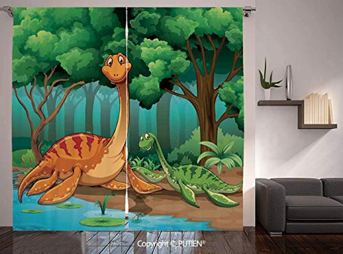 Thermal Insulated Blackout Window Curtain [ Kids,Dinosaurs in a Tropical Forest Jurassic Dino Cartoon Children Art Craft Theme Print Decorative, ] for Living Room Bedroom Dorm Room Classroom Kitchen -