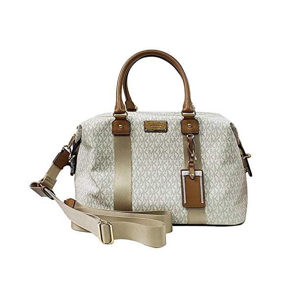 d0c8fc3deba228 Michael Kors LG large travel bag weekender purse MK vanilla acorn ...
