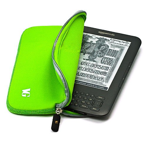 Durable Protective Neoprene Glove Sleeve Cover Carrying Case for Amazon Kindle 3 Wifi 3G 6 inch LCD Display Screen + Hi-Fi Noise Reducing Handsfree Headphones with Mic, Green